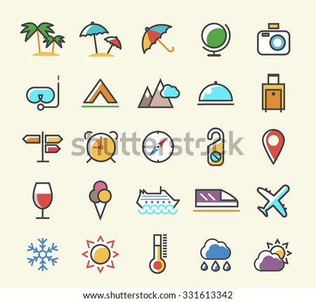 Set of 25 Minimalistic Solid Line Coloured Travel Icons. Isolated Vector Elements. - stock vector