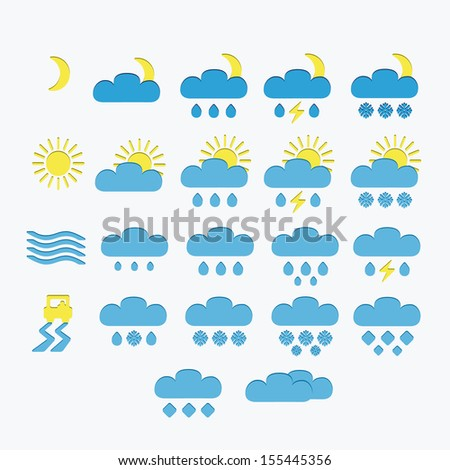 Set of Minimalistic Weather Icons, vector - stock vector