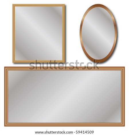 Set of Mirrors Isolated - stock vector