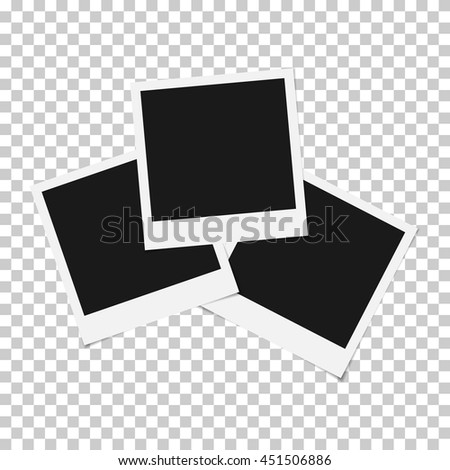 Set of mixed Blank photo polaroid frame isolated on transparent background, shadow effect and empty space for your photography, picture. Scrapbook album decoration template. EPS 10 vector illustration - stock vector
