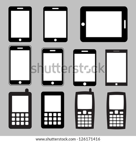 Set of mobile phones and tablets ,Illustration eps 10 - stock vector