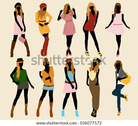 set of model fashion girl vector collection - stock vector