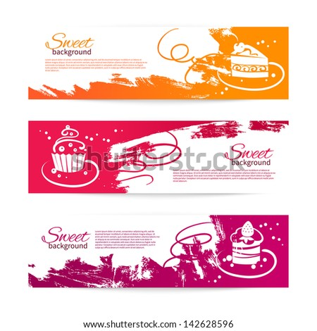 Set of modern bakery banners with cupcakes. Menu for restaurant and cafe - stock vector