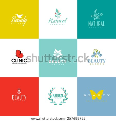 Set of modern beauty and nature logo templates and icons  - stock vector