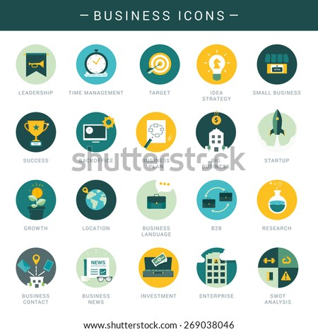 Set of modern business icons  - stock vector