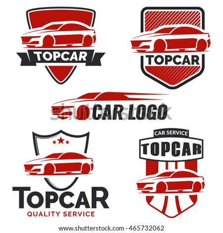 Set of modern car logo and emblems isolated on white background. Car logo template. Vector illustration.