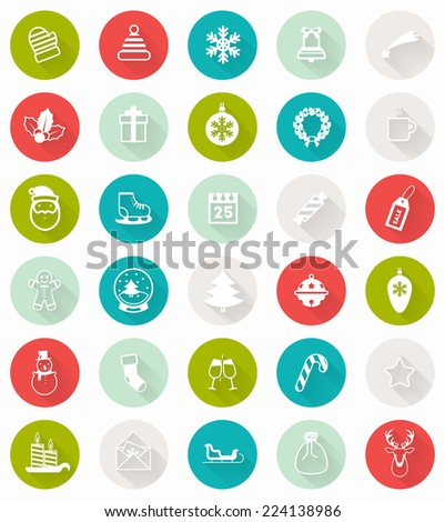 Set of Modern Christmas Flat Style Icons with Long Shadows. Holiday Xmas Design. Vector. - stock vector