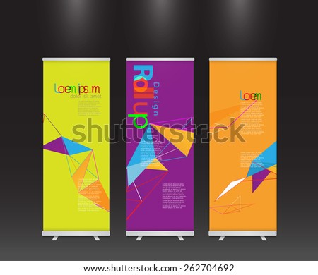 set of modern colorful roll up display banner with colorful geometric line template layout, vector illustration - stock vector