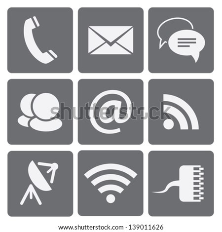 Set of modern communication signs and icons. Vector illustration - stock vector