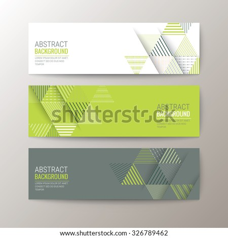 Set of modern design banners template with abstract triangle pattern background - stock vector