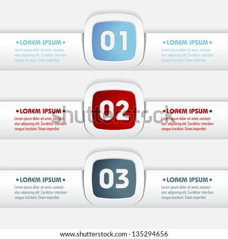 set of modern design elements with numbered options - stock vector