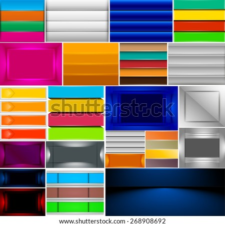 Set of modern design template, infographics banners. Business concept backgrounds. Ideal for brochure, catalog, flyer designs. - stock vector