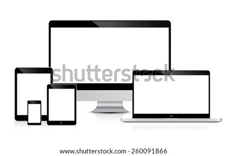 set of Modern Digital devices Electronic vector - stock vector