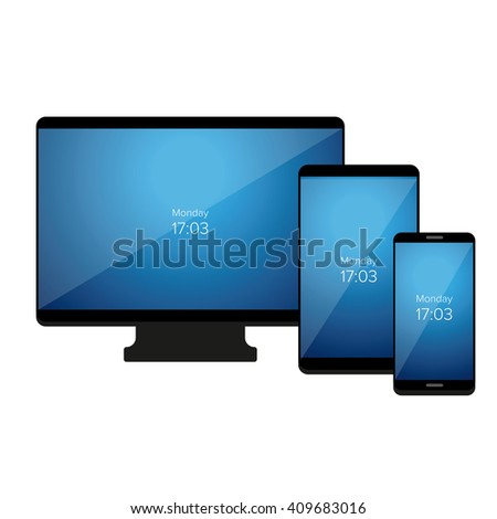 Set of Modern Digital devices. Vector