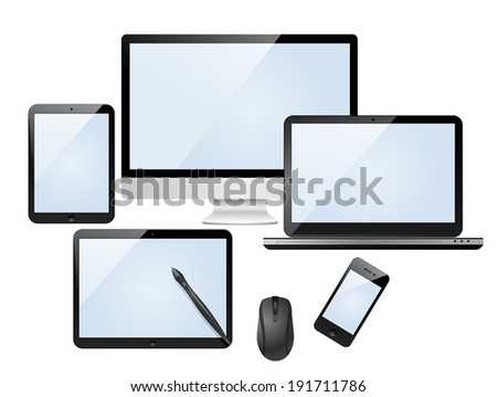 Set of modern digital devices with blank screen. Isolated on white background. - stock vector