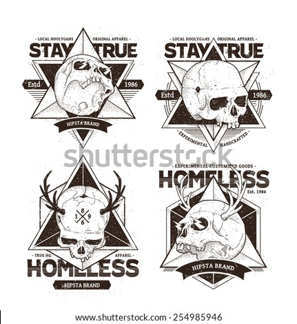 Set of modern emblems with dot work styled skulls. Cool and stylish vector designs. Vector prints. - stock vector