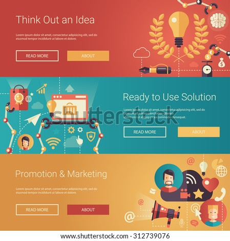 Set of modern flat design business headers with icons and infographics elements. Conceptual banners of idea, solutions, promotion and marketing - stock vector