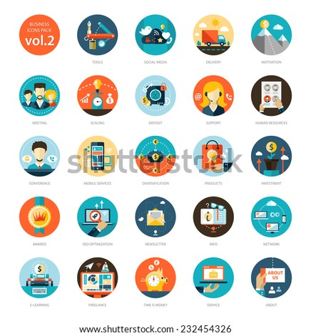 Set of modern flat design business vector infographics icons - stock vector