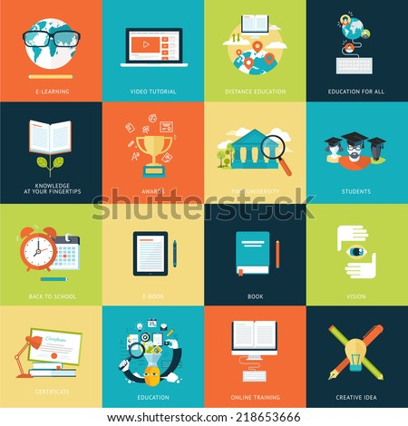 Set of modern flat design concept icons for online education. Icons for websites, print and presentation templates, promotional materials, infographics, web and mobile services and apps. - stock vector