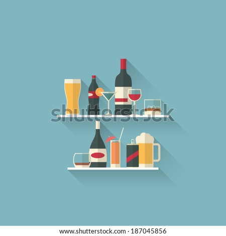 Set of modern flat design drink or bar icons. Eps10 vector illustration. - stock vector