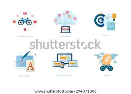 Set of modern flat design icons for application development or software app programming. Web, database, software development. - stock vector