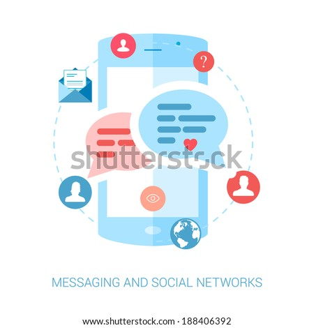 Set of modern flat design icons for messaging and social network update.Chat, questions and answers, mail, message, news illustration concepts. - stock vector