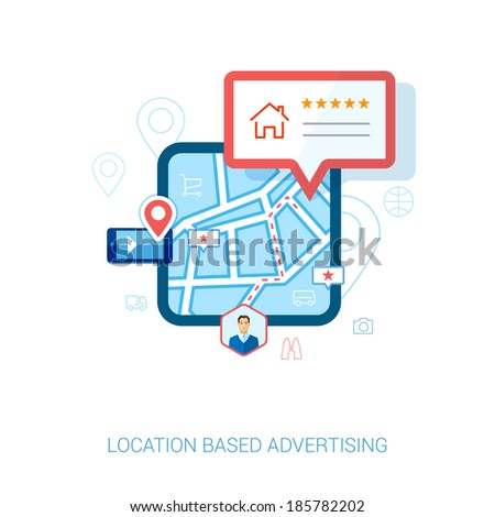 Set of modern flat design icons for mobile or smartphone location based advertising. Place check-in, hotel, restaurant, contact,l rating and context ads concept vector illustration. - stock vector