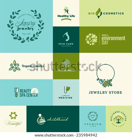 Set of modern flat design nature and beauty icons - stock vector