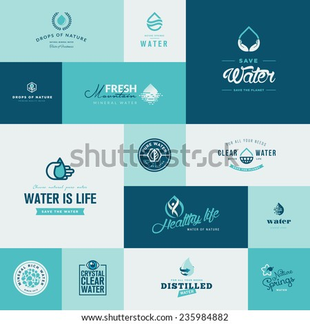 Set of modern flat design water and nature icons - stock vector