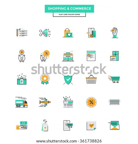 Set of Modern Flat Line icon Concept of shopping, e-commerce, m-commerce, delivery,  use in Web Project and Applications. Vector Illustration - stock vector