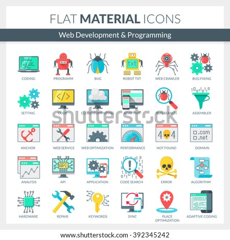 Set of modern flat material icons for Web development, SEO, App development, Cloud computing, Internet security, Programming, Coding. Vector