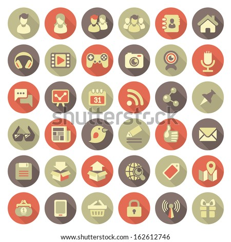 Set of modern flat round icons of social networking and multimedia in retro colors with long shadows - stock vector