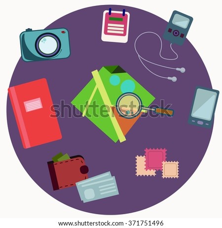 Set of modern flat square traveling icons - stock vector