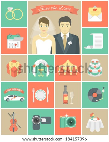 Set of modern flat square wedding icons - stock vector