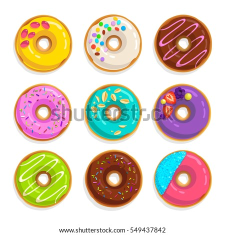 Set of modern flat style juicy colorful vector donuts isolated on white background. Top View Doughnuts collection into glaze for menu design, cafe decoration, delivery box (set 1)