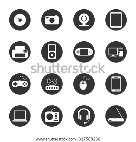 Set of modern flat thin line minimalistic icons of gadgets, computers, radio, phones