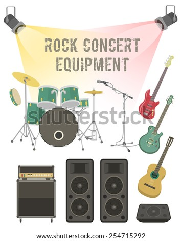 Set of modern flat vector illustration of musical instruments and sound equipment for rock concert, festival, club party  - stock vector