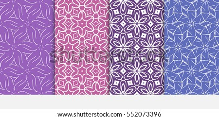 set of modern floral pattern of geometric ornament. Seamless vector illustration. for interior design, printing, wallpaper. purple color