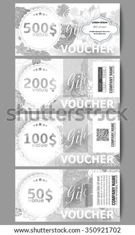Set Modern Gift Voucher Templates Hand Stock Vector 350921702 ...