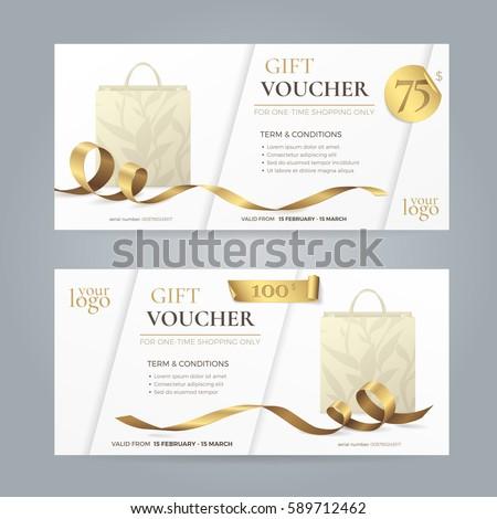 Set stylish gift voucher golden ribbon stock vector for Shopping certificate template