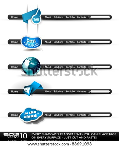 Set of modern high tech style search banners and web headers with various label tags for your text. Shadows are all transparent so you can place it on every surface. - stock vector