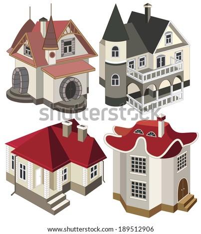 set of modern houses (vector illustration) - stock vector