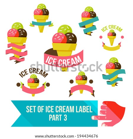 Set of modern ice cream shop badges and labels, vector illustration - stock vector