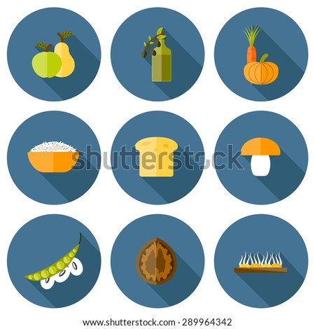 Set of modern icons in flat shadow style on vegan food theme: fruit, vegetable, mushroom, soy, bean, oil, nut, bread, rice. Raw healthy food or vegan concept. Great for vegan site, app, organic market - stock vector