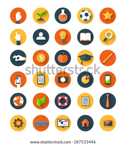 Set of  modern icons in flat style with long shadows on circles. Trendy design - stock vector
