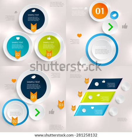 Set of modern infographics element number template. Abstract circles template. Modern banner template set. Can be used for workflow layout, diagram, business step options, banner, web design - stock vector