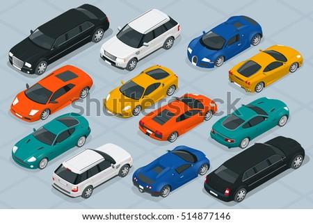 Vector Illustration In Rank M Rank Set Of Modern Luxury Cars Icons