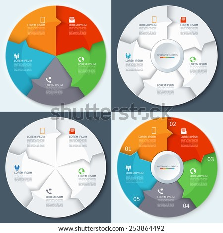 Set of modern minimal infographics circles. Origami style. Vector illustration. Can be used for workflow layout, brochure, diagram, chart, number and step up options, web design - stock vector