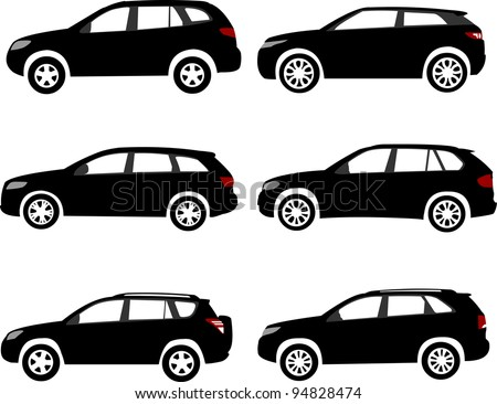 Set of modern off-road, sport utility vehicles silhouettes. Layered vector illustration. One of the similar in series of car silhouettes - stock vector