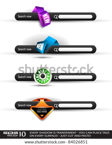 Set of modern original style search banners with various label tags for your text. Shadows are all transparents so you can place it on every surface. - stock vector